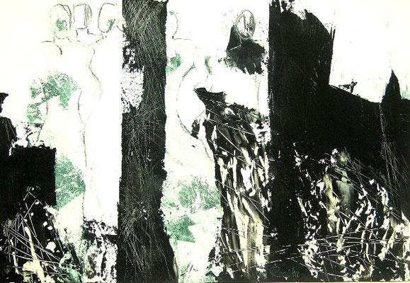 "Nr. 423 / ""Ballgeflüster"" /  95 cm x 66 cm / Acryl mit Japanpapier"