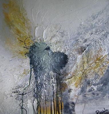 Nr. 551 o.T. / Acryl/Mischtechnik / 47 cm y 51 cm /  auf MDF Platte