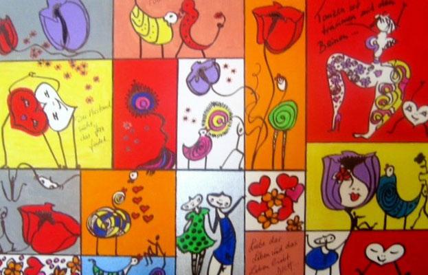 """Bild Nr. 520 / """"Liebe das Leben 5"""" / 60 cm x 40 cm / Acryl-Mischtechnik auf Leinwand"""