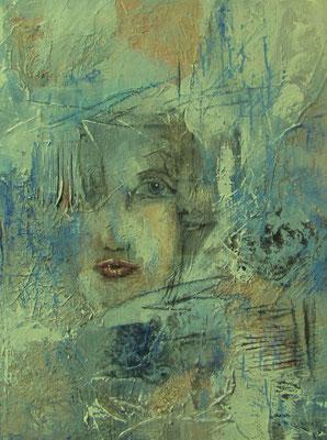 """Nr. 641 / """"Gedanken"""" /  60 cm x 80 cm / Collage Acryl-Mischtechnik auf  Leinwand"""