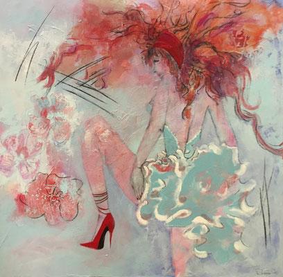 """""""Tanzen ist träumen mit den Beinen """" / 100 cm x 100 cm / Acryl auf Leinwand"""