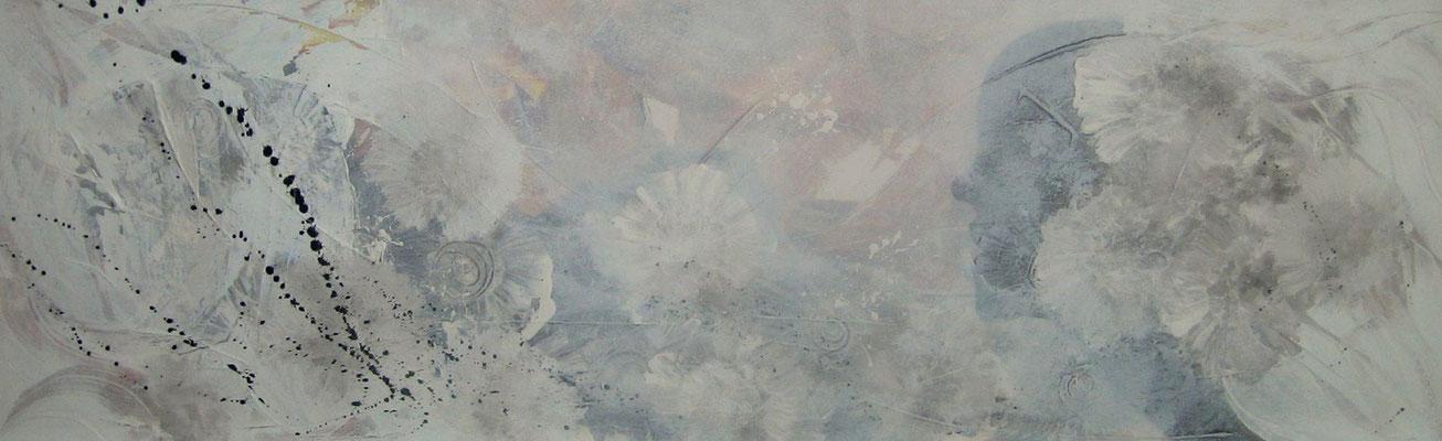 "Nr. 635 / ""Sehnsucht"" / 120 cm x 40 cm / Acryl-Mischtechnik auf Leinwand"