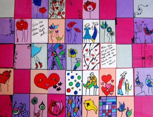 """Bild Nr. 514 / """"Liebe das Leben"""" / 80 x 60 cm / Acryl-Mischtechnik auf Leinwand"""