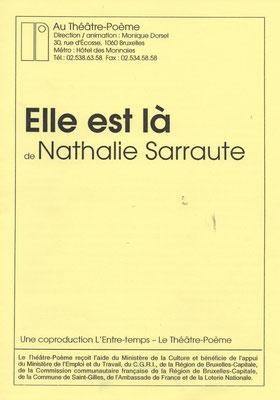 """Programme de """"Elle est là"""" de Nathalie Sarraute"""