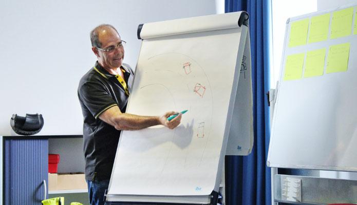 Fabrizio Masci explique  l'importance de la position des roues  avant en cas d'incident.