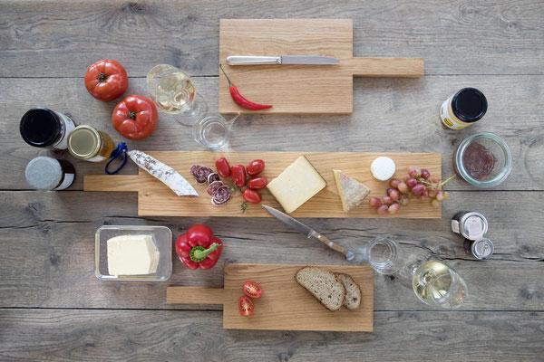 Jack & Lucy Schneidebretter, Servierbretter und Brotzeitbretter handgemacht aus einem Stueck Eiche, in verschiedenen Groessen