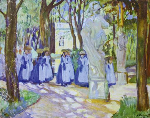 О. Л. Делла-Вос-Кардовская. Гимназистки на прогулке в Екатерининском парке. 1910 г.