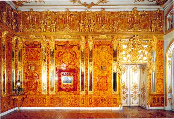 Стена Янтарной комнаты в Екатерининском дворце была намного больше