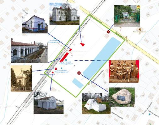 Памятники и мемориальные зоны в районе станции Александровская
