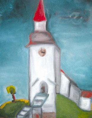 «Церковь в Марифред (Швеция)». Холст, масло, 30х40 см., 2012 год.
