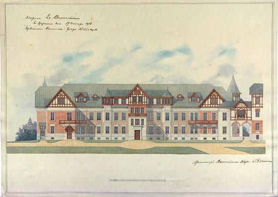 Проект Родильного приюта Дрожжиных. Юго-западный фасад. 1916