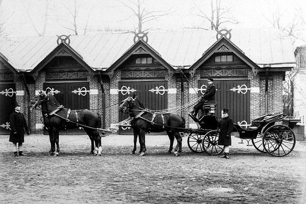 Широкоформатная фотография четверки лошадей на фоне конюшен служб Дворца Палей. Фотограф Вильгельм Лапре, 1890–1900-е гг.