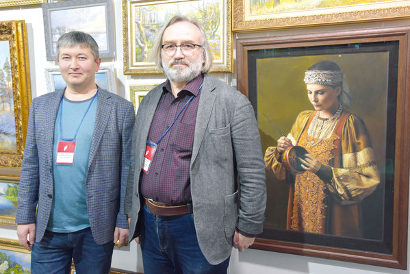 Владелец «Галереи художников» в Пушкине Артур Мантиков и художник Сергей Артемьев