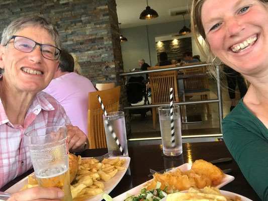 Enjoying well deserved fish and chips