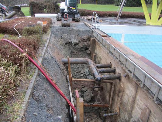 Altes Becken oben abgeschnitten, neue Überlaufrinne aus Edelstahl aufgesetzt: Die CDU-Fraktion begutachtet den Verlauf der Sanierungsarbeiten bei einem Ortsrundgang 2008