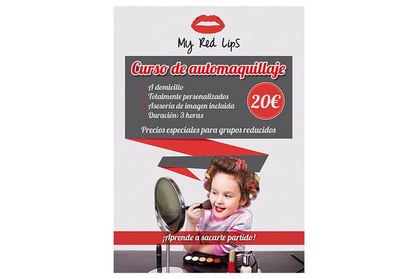 Flyer promocional oferta curso de maquillaje