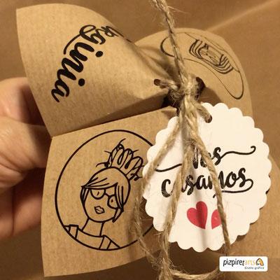 Invitación comecocos en papel craft.