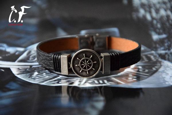 Clochard Fashion - Lederarmband schwarz kombiniert mit Edelstahlelemente (Steuerrad)