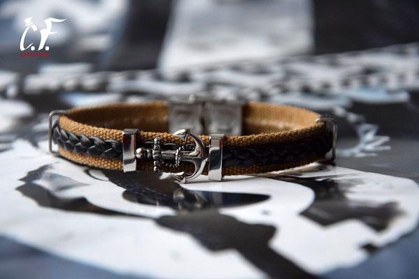 Clochard Fashion - Armband kombinert mit Baumwolle/Leder mit nautischem Symbol