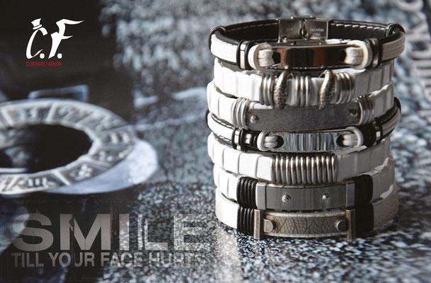 Clochard Fashion - Lederarmbänder weiß kombiniert mit Edelstahlelementen/Gravurplatte