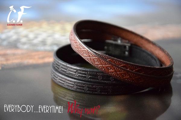 Clochard Fashion - Wickel-Lederarmbänder schwarz oder braun mit Prägemuster