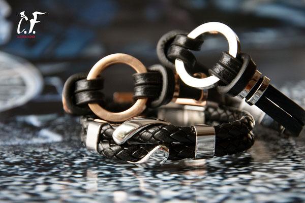 Clochard Fashion - Lederarmbänder schwarz kombiniert mit Edelstahlelemente