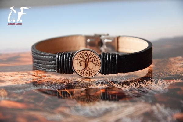 Clochard Fashion - Lederarmband schwarz mit Holzinlay (Lebensbaum)