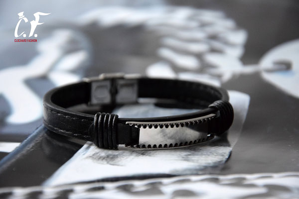 Clochard Fashion - Lederarmband schwarz mit gemusterter Gravurplatte