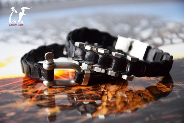 Clochard Fashion - Nappa-Lederarmbänder schwarz kombiniert mit Edelstahlelemente/Gravurplatte