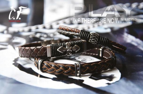 Clochard Fashion - Lederarmbänder mit Edelstahlelelmente