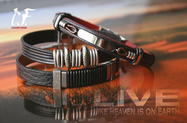 Clochard Fashion - Lederarmbänder schwarz kombiniert mit Edelstahlelemente/Gravurplatte
