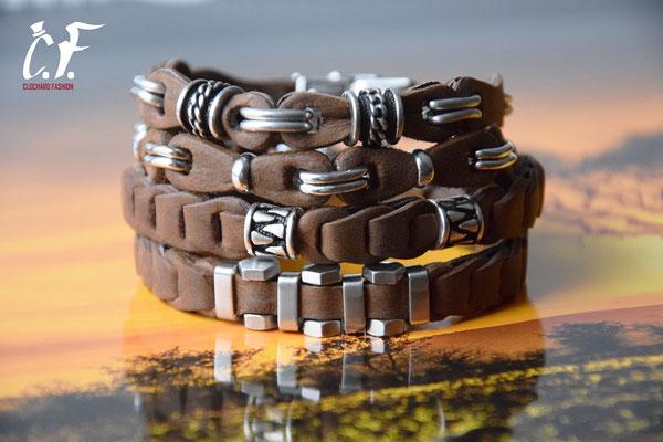 Clochard Fashion - Nappa-Lederarmbänder braun kombiniert mit Edelstahlelementen