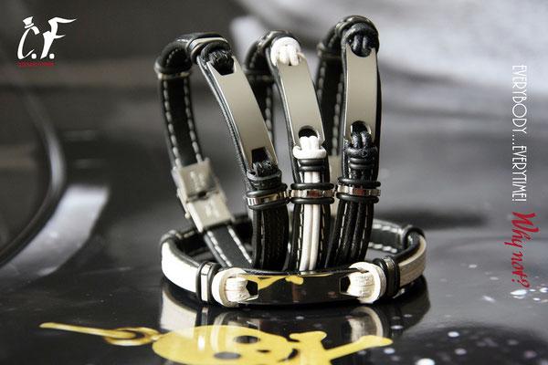 Clochard Fashion - Lederarmbänder schwarz/weiß kombiniert mit Edelstahlelemente/Gravurplatte