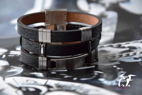 Clochard Fashion - Lederarmbänder schwarz kombinert mit Edelstahlelementen/Gravurplatte