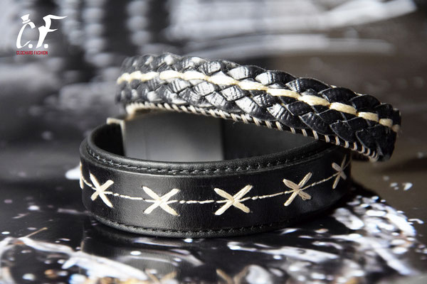 Clochard Fashion - Lederarmbänder schwarz mit Stickerei
