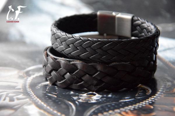 Clochard Fashion - Lederarmbänder schwarz geflochten