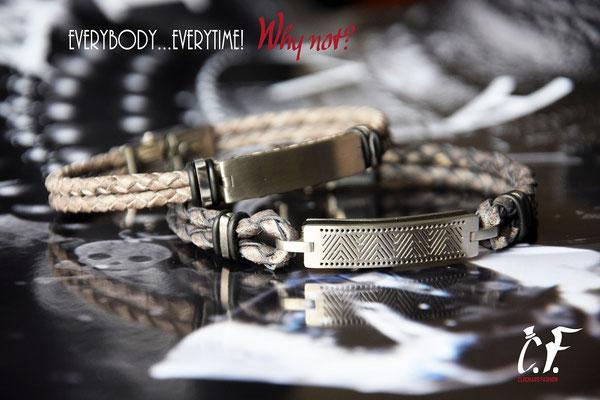 Clochard Fashion - Lederarmbänder grau/beige kombiniert mit Edelstahlelemente/Gravurplatte