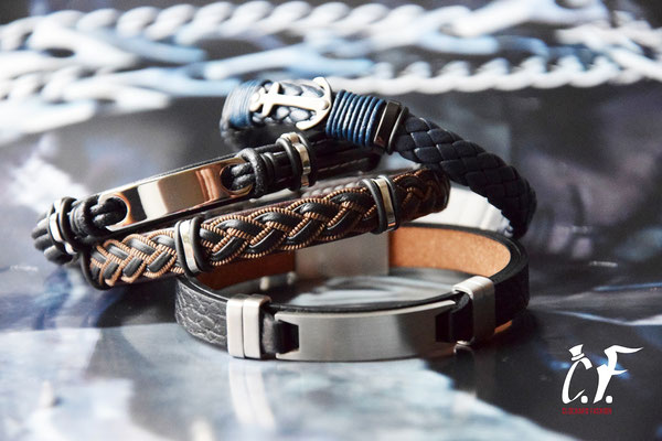 Clochard Fashion - Lederarmbänder kombiniert mit Edelstahlelementen/Gravurplatte