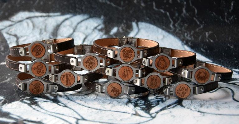 Sternzeichen - Armbänder aus recyceltem Holz, aufgebracht auf Rindleder kombiniert mit Edelstahl
