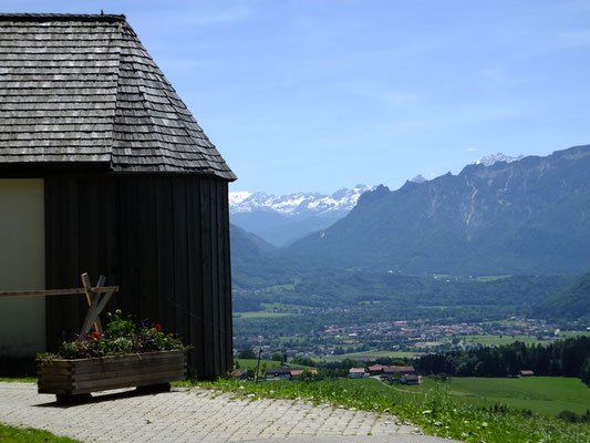 Blick vom Berggasthof Stroblalm Richtung Berchtesgadener Alpen