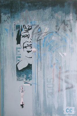 Porte de jazz. Acrylique sur toile. 97 x 146 cm.