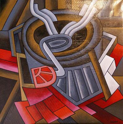 Pause café. Acrylique sur toile. 100 x 100 cm.