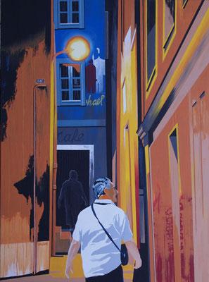 Au bout d ela rue. Acrylique sur toile. Collection privée