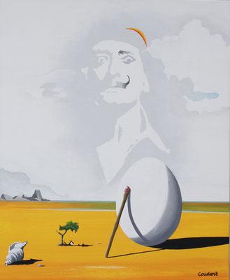 Dali face à son œuf. Acrylique sur toile. Collection privée