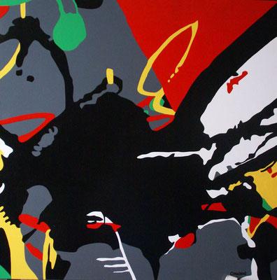 Abstraction 08. Acrylique sur toile. 90 x 90 cm.