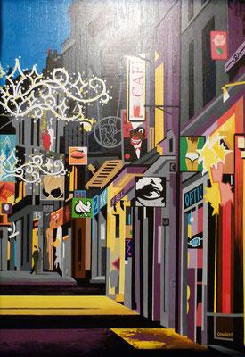 Rue de l'hôtel. Acrylique sur toile. Collection privée