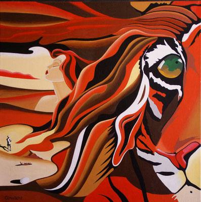 Femme à la crinière de tigre. Acrylique sur toile. Collection privée