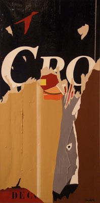 Disparition d'une enseigne. Acrylique sur toile et goudron. 60 x 120 cm.