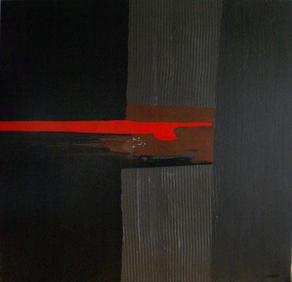 Sans titre rouge. Acrylique sur toile. 120 x 120 cm.
