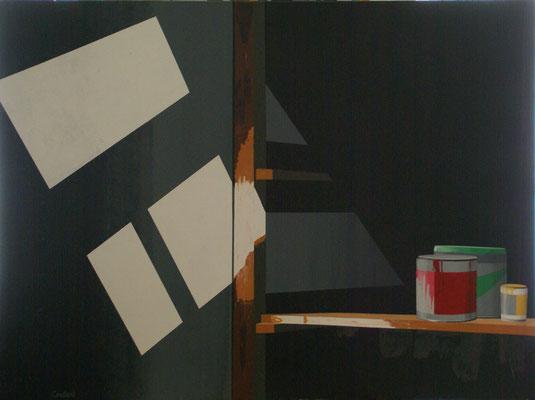 L'atelier d'Eric. Acrylique sur toile. 97 x 130 cm.